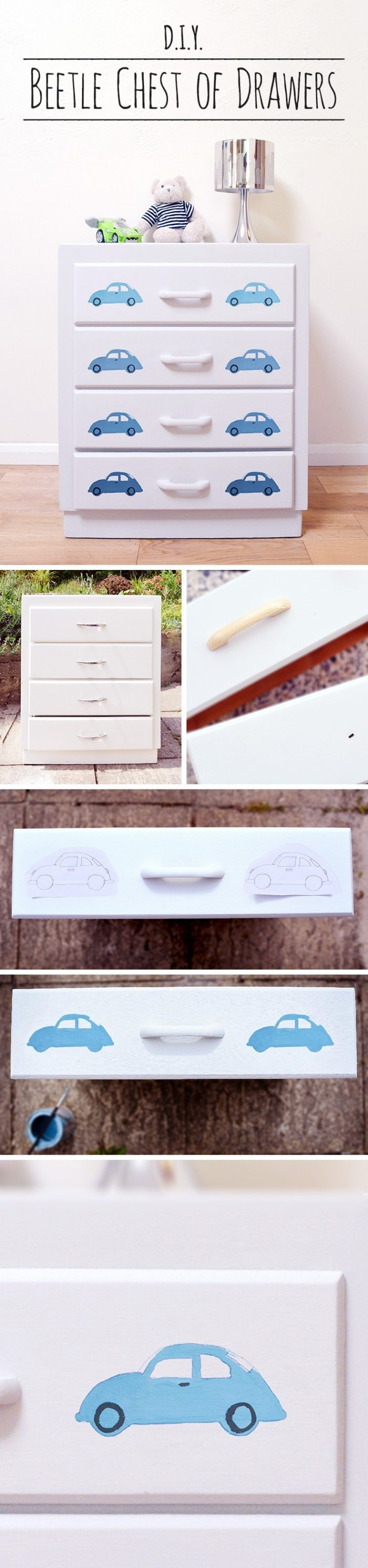 "DIY painted furniture is a great way of personalizing a bedroom. Find a full tutorial for the chalk paint beetlecar chest of drawers here and visit the collaborative board ""DIY bloggers for Volkswagen"" for more inspiring DIY instructions and ideas: http://www.pinterest.com/volkswagen/diy-bloggers-for-volkswagen"""