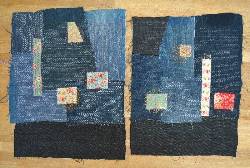Sashiko Denim Bag - two sides hand stitched ready to create bag
