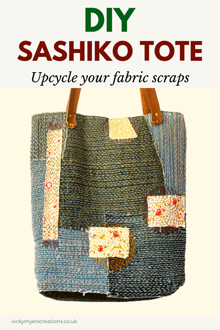 Do you love hand sewing? Then this sashiko denim tote bag is for you. Use your old jeans to create a slow stitched embroidered tote bag #totebag #sashiko #slowstitch #denimbag