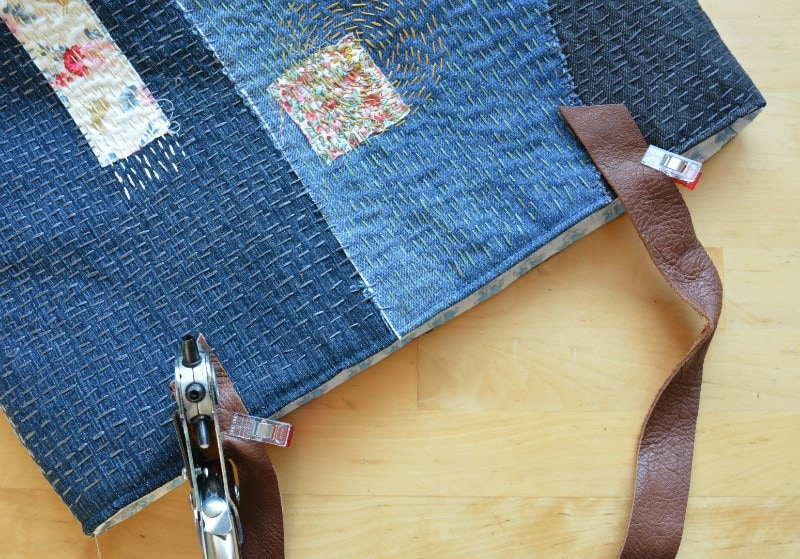 sashiko denim bag tutorial - leather bag handles secured with cap rivets