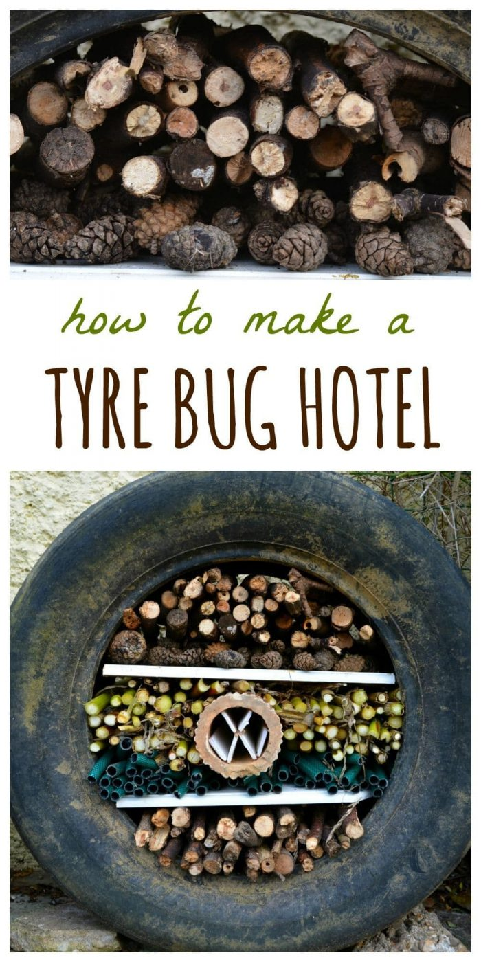 Use a former tyre to create a fun DIY bug hotel, how to make your own bug hotel on the blog