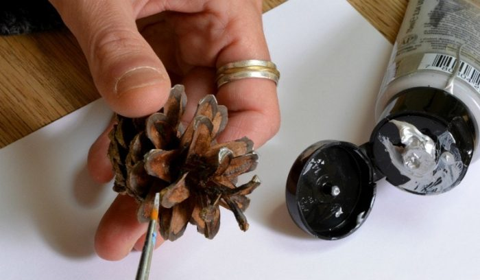 paint-the-edges-of-pine-cones-with-acrylic-paint