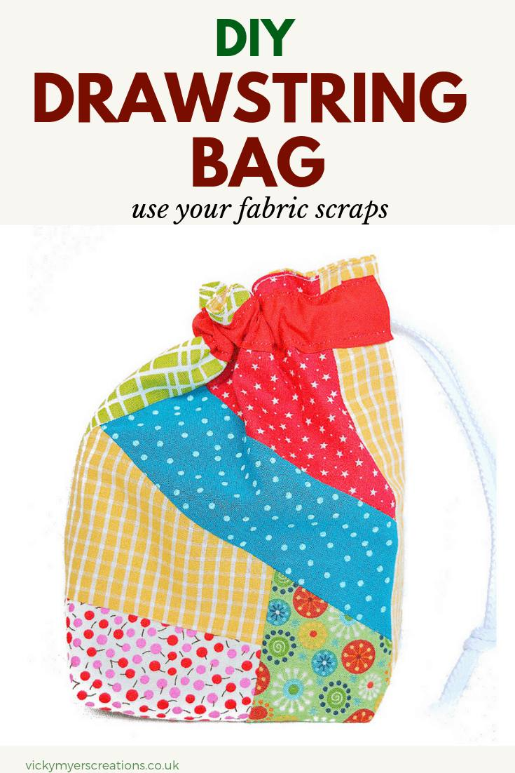 Learn how to make a super easy drawstring bag using your fabric scraps, step by step tutorial #DIYdrawstringbag