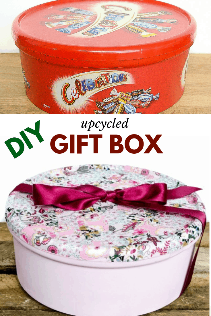 Do you love sweets? Wonder what to do with the plastic tins? Upcycle them into gift boxes with chalk paint spray and fabric scraps #giftwrappingidea #upcyclecraft #giftwrap led projects and crafts are my favorite. #recycle #recycledproject #recycling #crafts #diy #doityourself #homedecor
