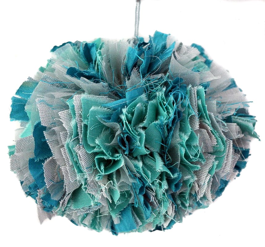 Large fabric scrap pom pom. DIY upcycled christmas decoration 2