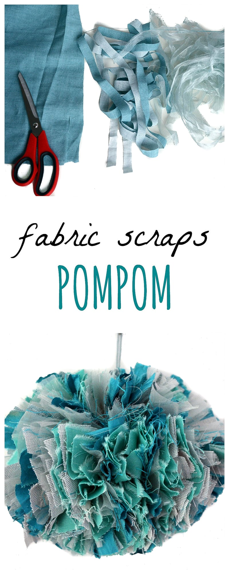 Learn how to make a large fabric pom pom from fabric scraps, DIY UPcycled Christmas Decoration