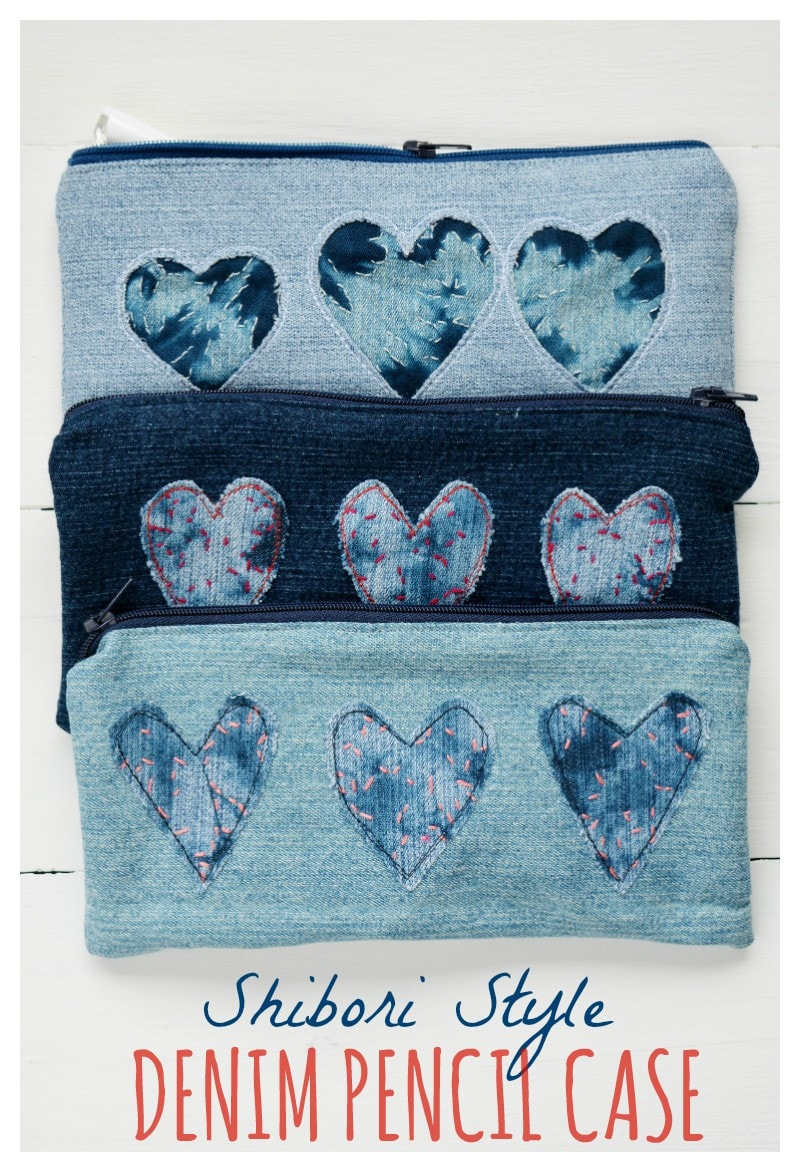 Shibori Trend - DIY Denim Heart Pencil Case . A lovely craft for valentines. Recycle your old jeans with thhis easy pencil case. Read the full tutorial on the blog to learn how to make the cut away heart design.  #valentinescraft #diypencilcase #shibori #denim