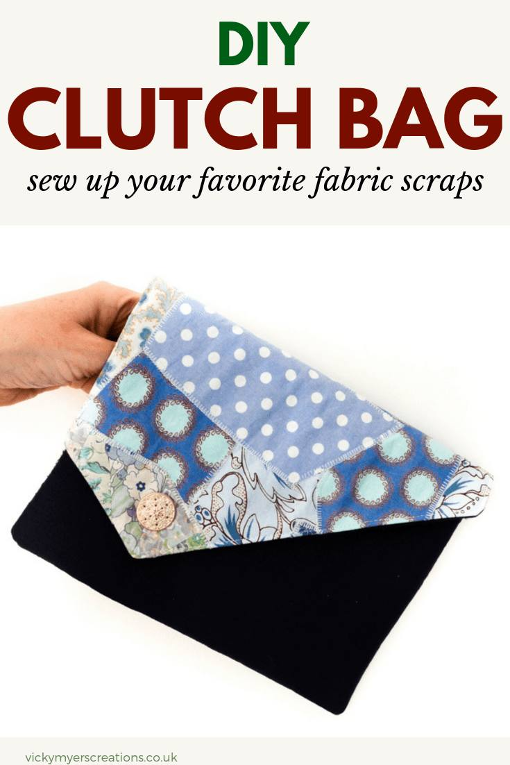 Learn how to make a clutch bag using your fabric scraps, this free tutorial walks you through every step of sewing the DIY fold over clutch #freebagpattern