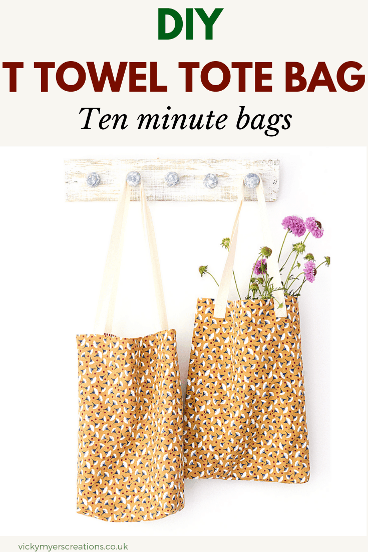 This simple and easy tote bag pattern makes the most of hemmed t towels. The free tutorial includes optional lining and pockets #totebagpattern