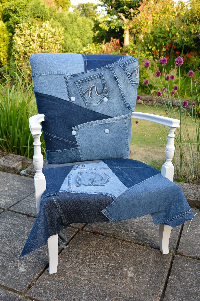 Well known Denim Upcycled Bedroom Chair - vicky myers creations IP85