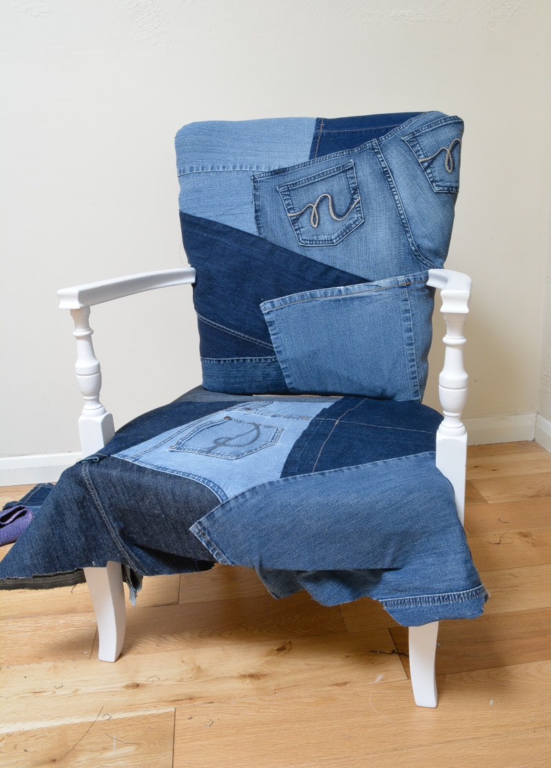 Beautiful Denim Upcycled Bedroom Chair - vicky myers creations VS39