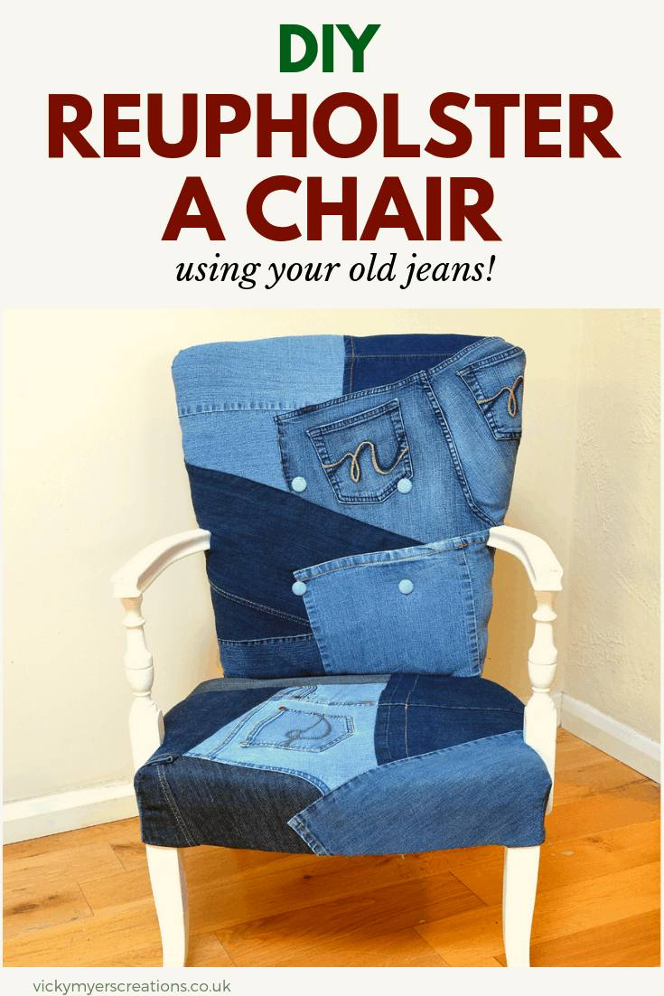 Learn how to reupholster a bedroom chair using your old jeans! Step by step photograph tutorial, plus video of the DIY - go on have a go!! #reupholsterachair #upcycle