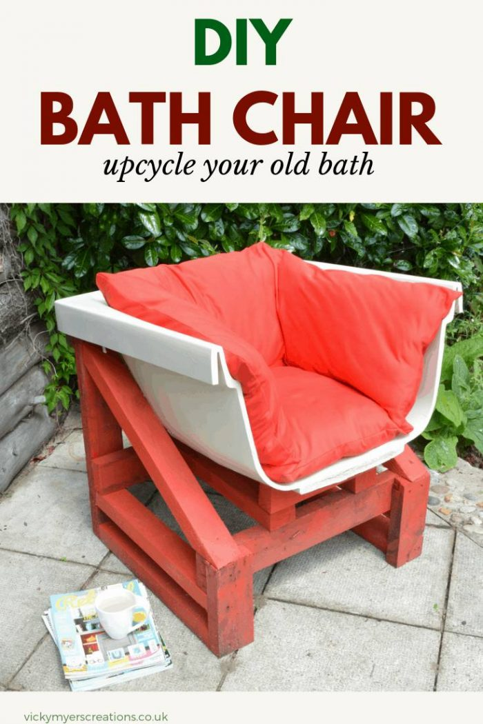 Learn how to upcycle your old bath tub into garden furniture! This DIY project repurposes your bath into a a garden chair #DIYgardenfurniture #DIYproject