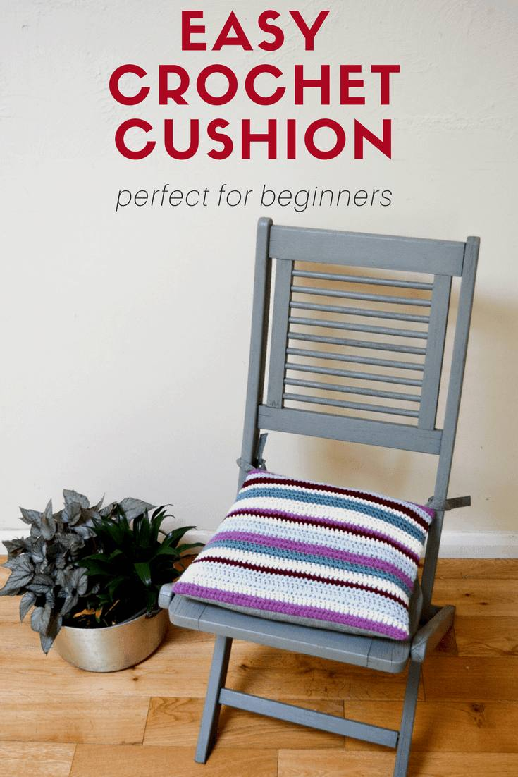 Tutorial for easy striped crochet cushion, DIY Crochet cushion for garden chair, Tutorial