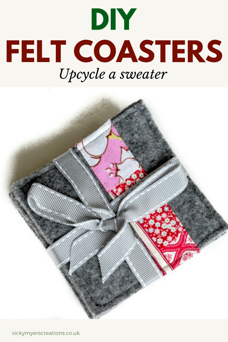 learn how to felt a sweater to make your own easy DIY felt coasters. using fabric scraps embellish with colours to suit. Perfect as a DIY Christmas gift. #feltcoasterspattern