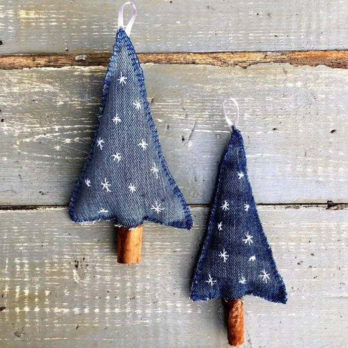 How to make Denim Christmas Tree Decorations