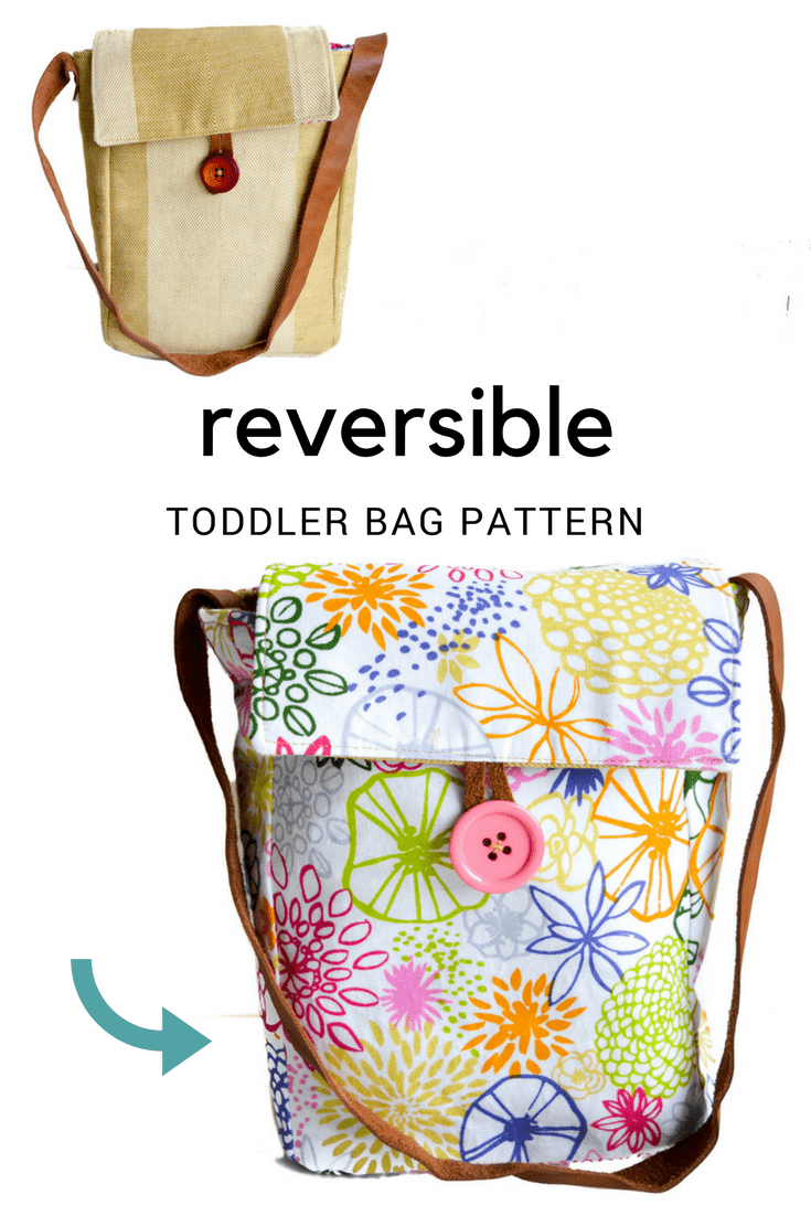 Free Reversible Toddler Bag Pattern. Step by step tutorial. free toddler bag pattern