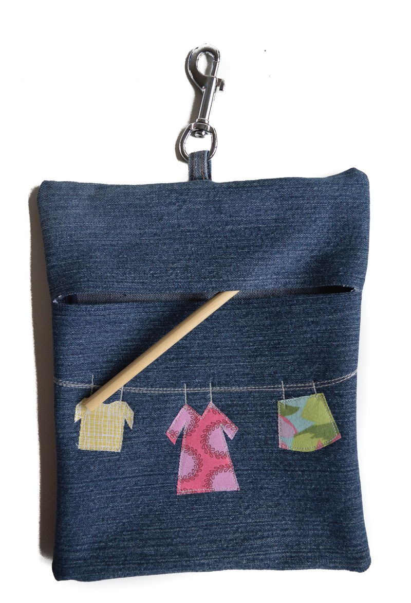 Insert dowelling into denim peg bag, tutorial