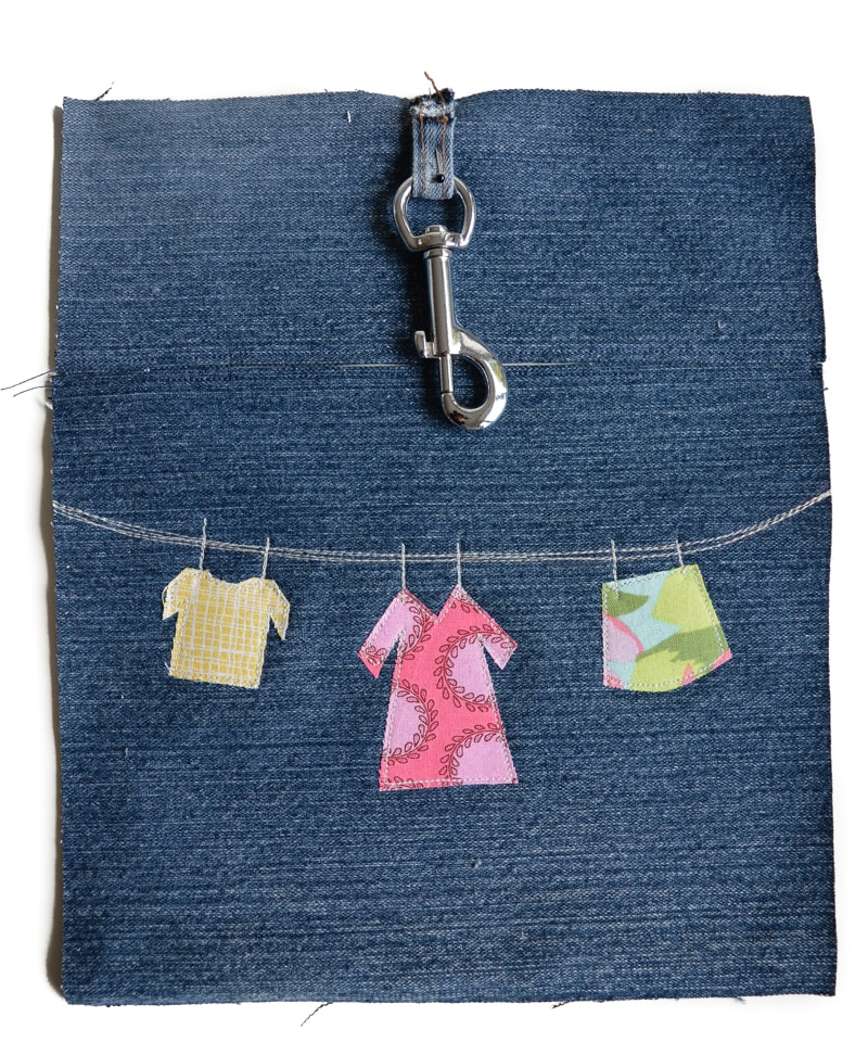 key clip on denim peg bag
