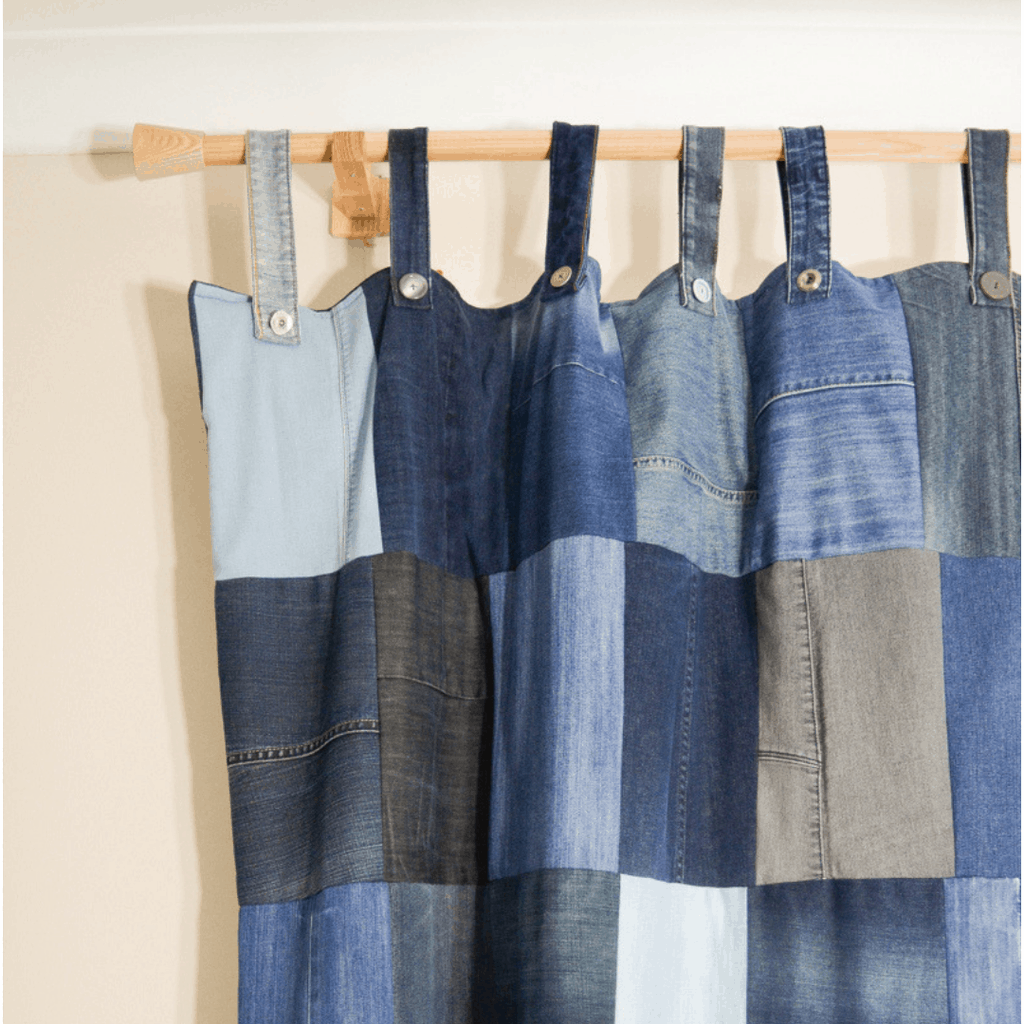 DIY Denim Curtains - how to make lined curtains