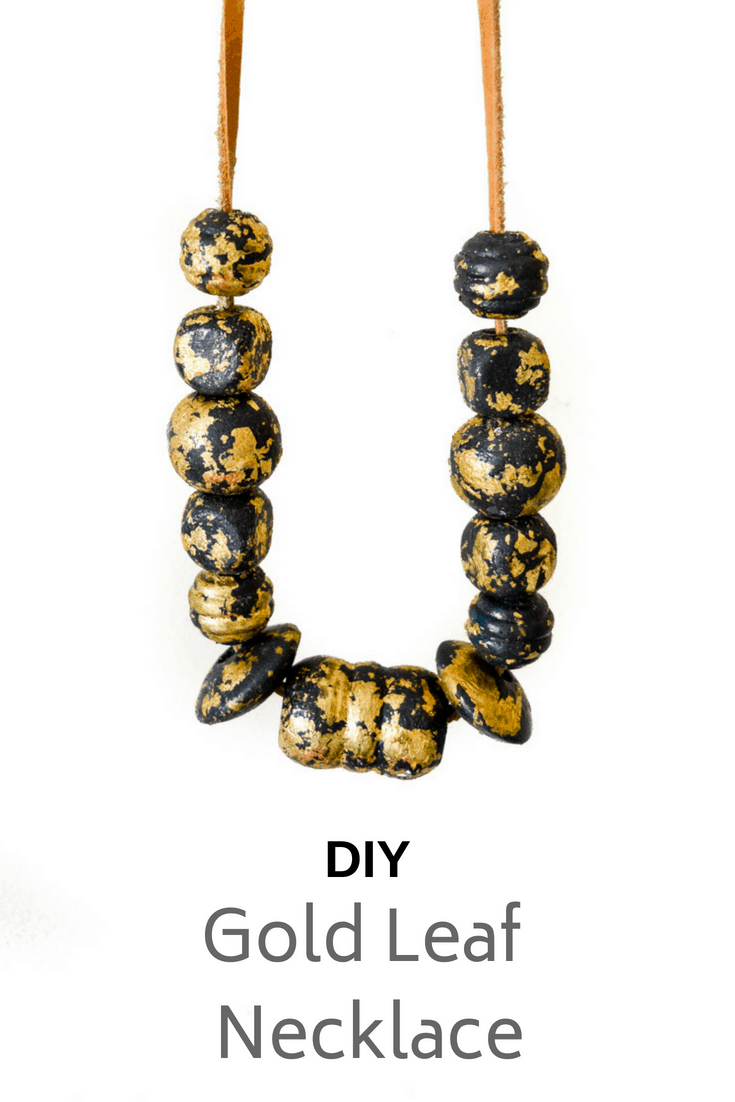 Make your own fun gold leaf necklace, a quick and simple DIY necklace #DIYgoldleafnecklace
