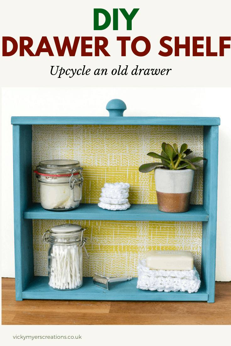 Super easy step by step tutorial for how to make DIY shelving unit from an old drawer. #homedecor #upcycle #recycledproject