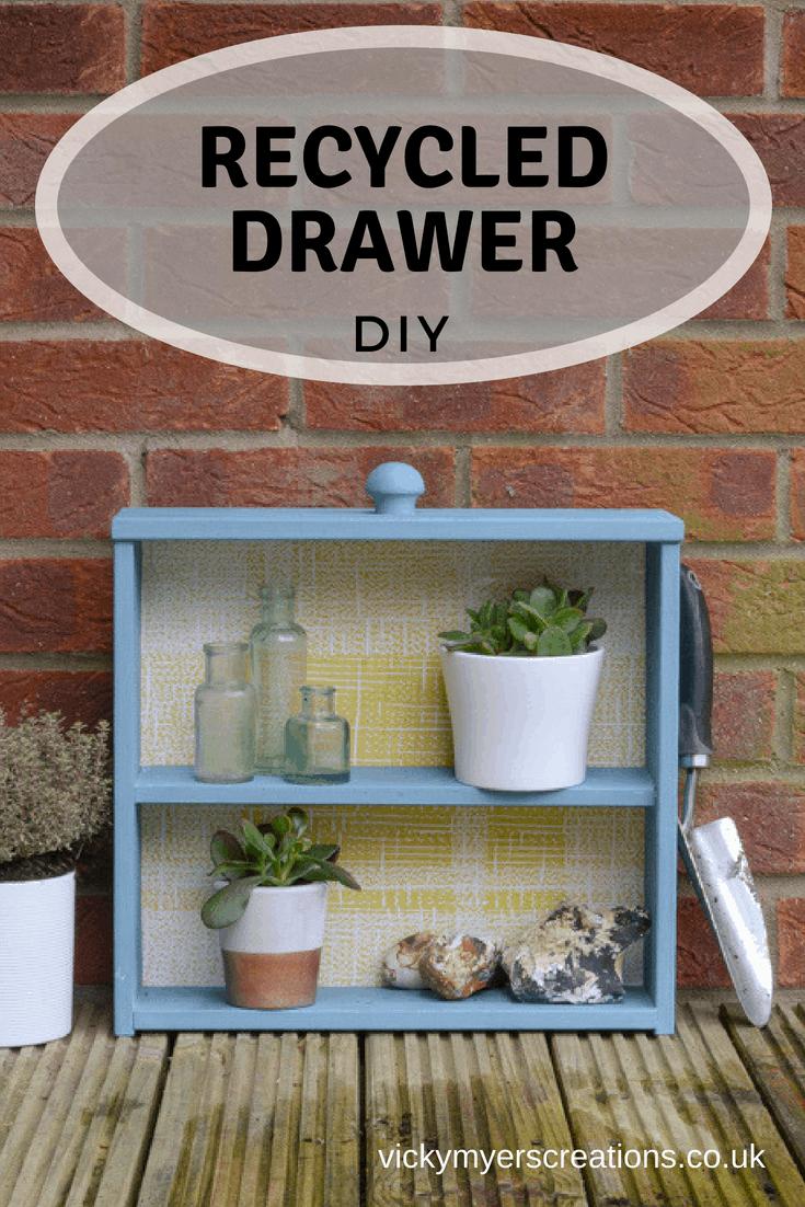 Garden storage from a former drawer. A repurposed drawer into shelf. #DrawershelfDIY