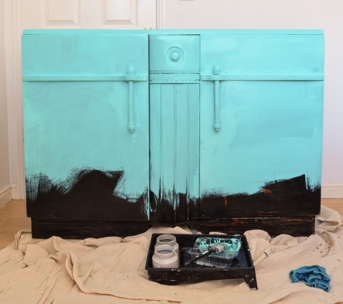 ombre furniture DIY, base coat Azure Fusion Mineral Paint