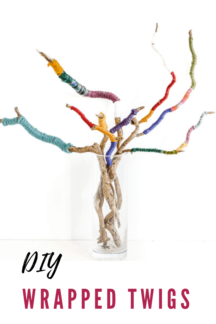 twig crafts - bright and colourful twig bouquet, wrapped twigs with yarn - use up your odds and ends of yarn with this scrap yarn project
