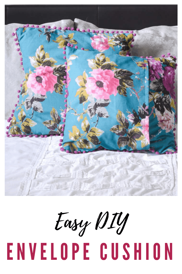 Suoer quick and easy DIY envelope cushion, pompom trim envelope cushion