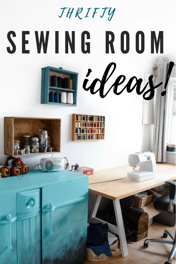 How to organize a sewing room on a budget, thrifty sewing room ideas, sewing storage, sewing room ideas