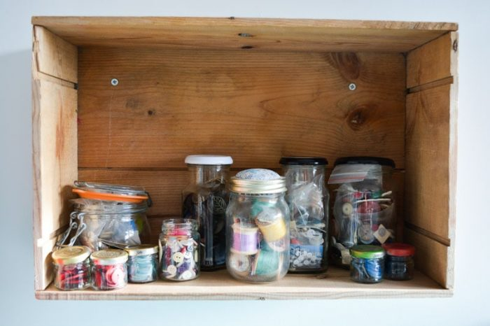 Jam jars filled with buttons, How to organize a sewing room on a budget, thrifty sewing room ideas