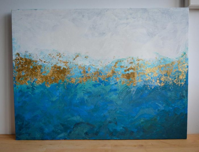 Easy Diy Gold Leaf Abstract Painting Vickymyerscreations