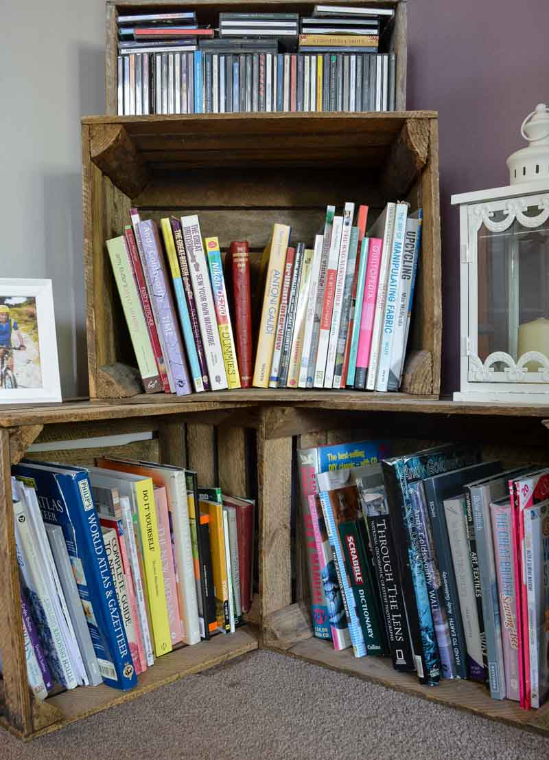 craft books stored in apple crates, How to organize a sewing room on a budget, thrifty sewing room ideas