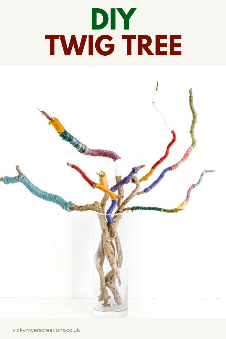 Make a wrapped twig bouquet for an easy and colorful centerpiece! Perfect for yarn odds and ends create this fun upcycled craft for your mantlepiece, bringing nature indoors #homedecor #upcycle #upcycedcraft #twigs #mantlepiecedecor