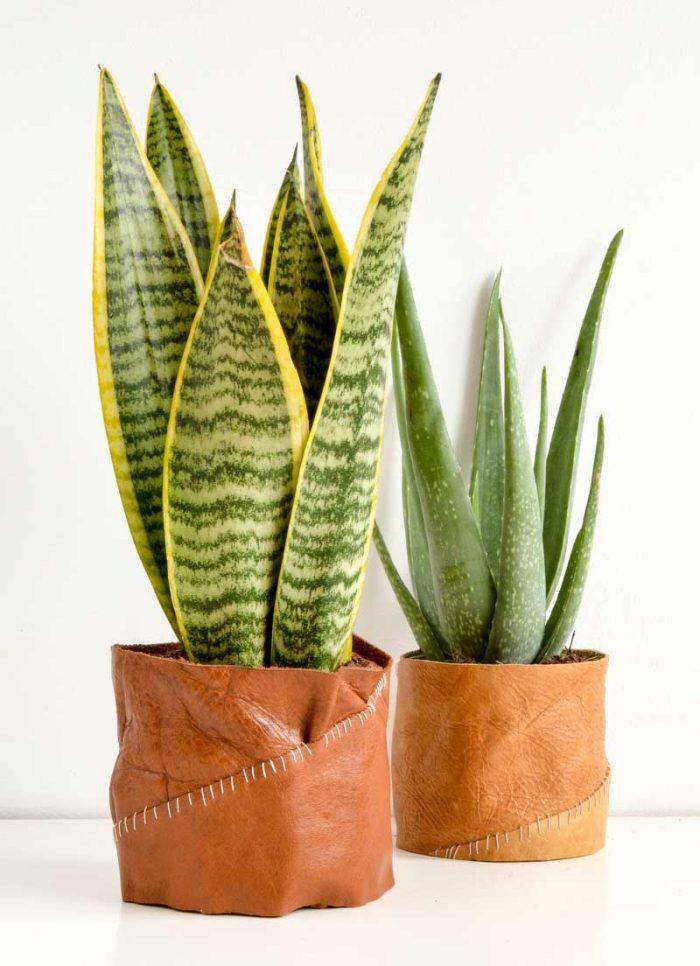 DIY Leather plant pot holder, DIY Plant Pot, Leather Gift