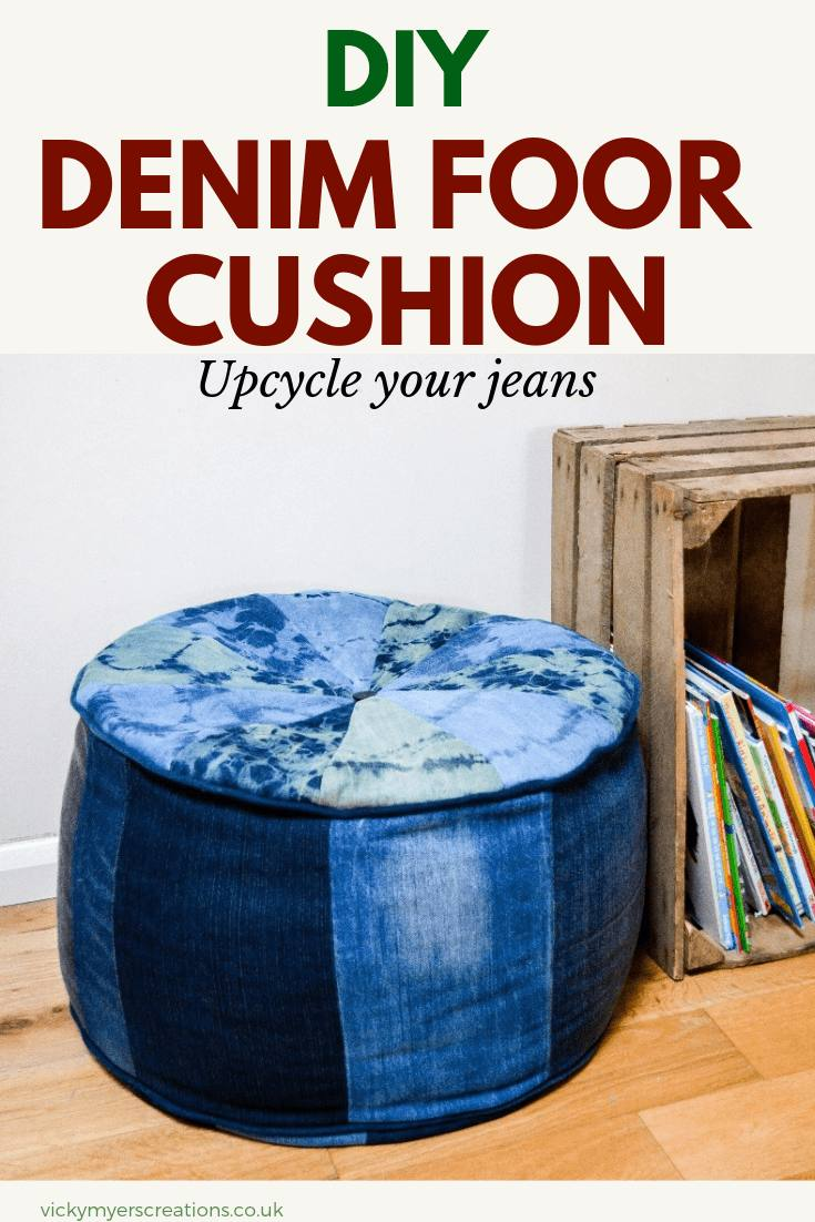 learn how to make your own DIY large denim floor cushion, perfect for kids to chill out in their bedroom with a good book #largefloorcushionDIY