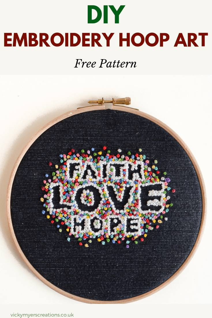 Use this free embroidery pattern to make a beautiful embroidery hoop art project. The letters pop with colorful french knots surrounding them, hand stitching nis so relaxing #freeembroideryhooppattern