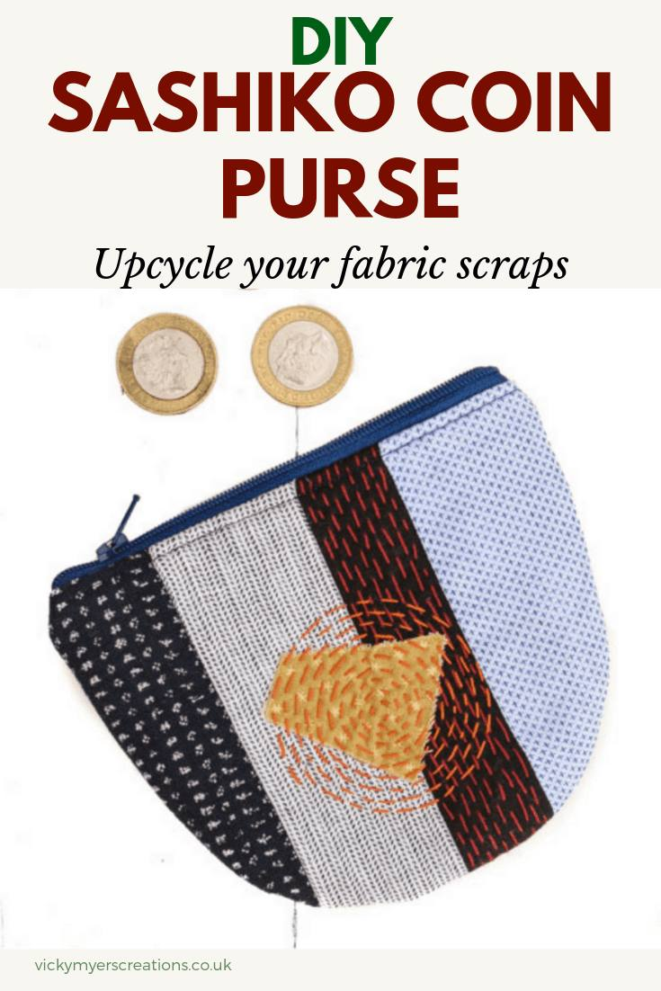 Love working with your fabric scraps? Stitch up a sashiko inspired coin purse with this free coin purse pattern. the step by step tutorial will teach you how to sew a coin purse with zipper. #DIYcoinpurse #coinpursepattern #coinpursetutorial #sewingpattern