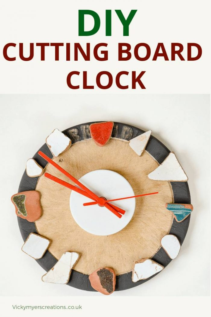Do you have a favorite collection of sea washed broken tiles? Plus an old chopping board you don't like? Turn them into a clock! DIY a perfect wall clock #DIYClock #Tileclock #upcycle #cuttingboard