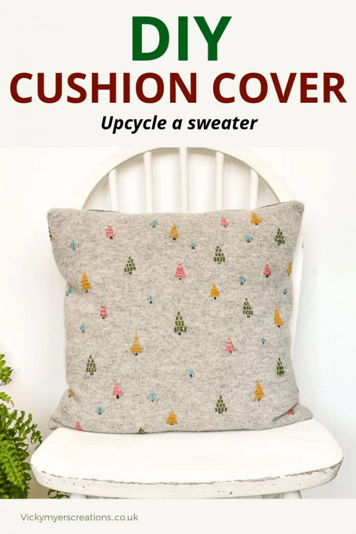 Update your home decor with this hygge embroidered cushion cover, the tutorial includes videos of how to embroider the trees. Transform your old sweater into a cushion cover #upcycledsweater #homedecor #diycushioncover #embroideredcushionsDIY