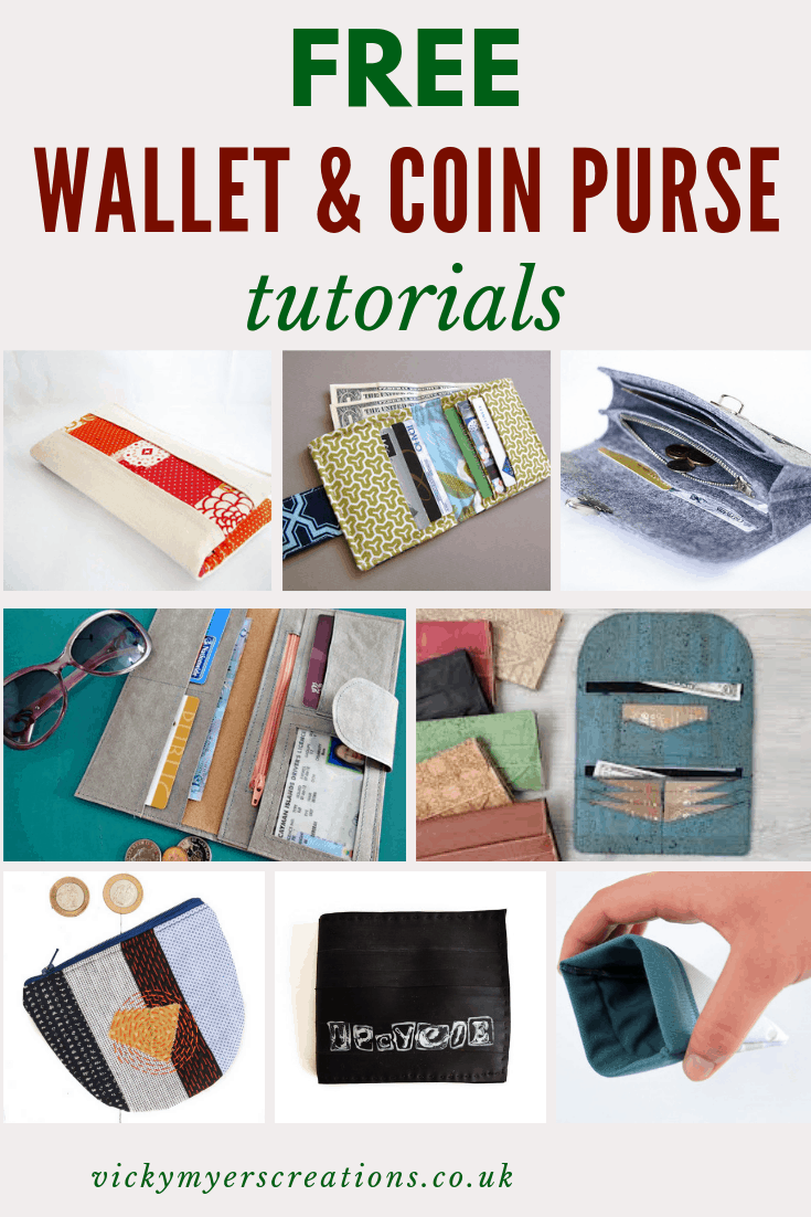 Ten great free patterns for sewing your own wallet, with cork, fabric, leather, bicycle tyre - you will love these DIY wallet and coin purse patterns #freesewingpatterns