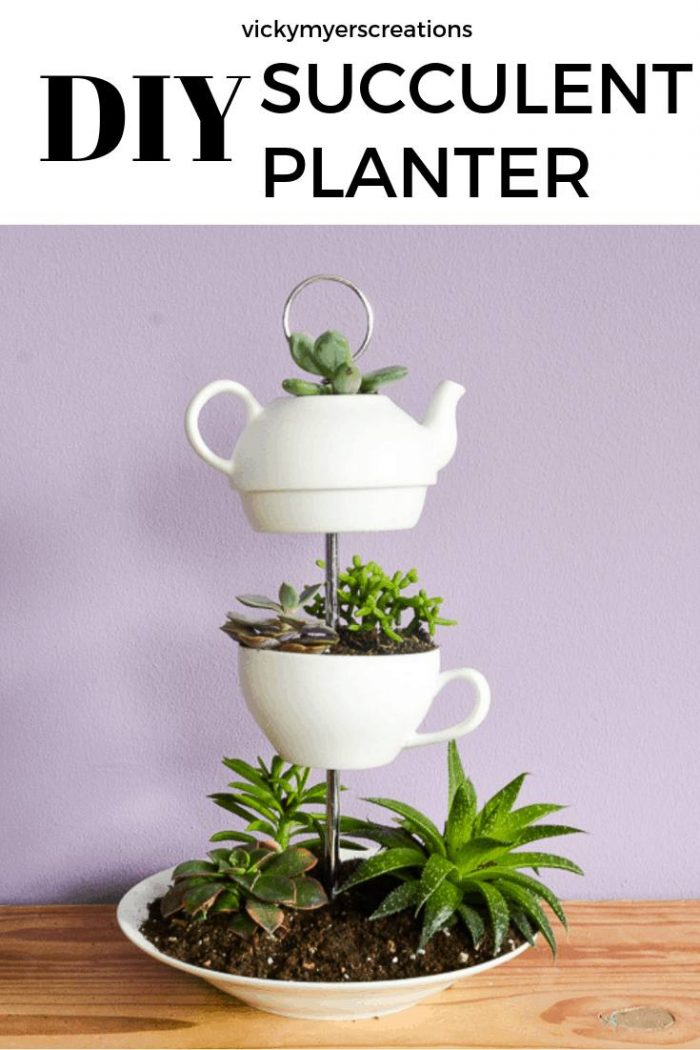 learn how to make a fabulous upcycled indoor DIY planter, this vertical planter is made from old upcycled crockery #DIYsucculentplanter #indoorplanter