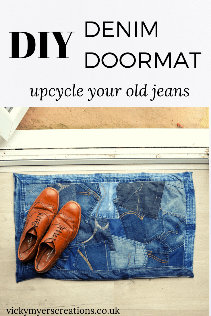 Learn how to make a DIY denim doormat from old clothes, this tutorial shows you how to reurpose your old denim jeans into a funky doormat