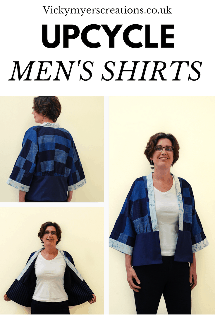 Learn how to refashion men's shirts into a stylish kamino - this refashioning tutorial teaches you how to divide a pattern into blocks, plus how to sew up blocks of new fabric from old clothes, perfect for refashioning clothes which are too small #refashion