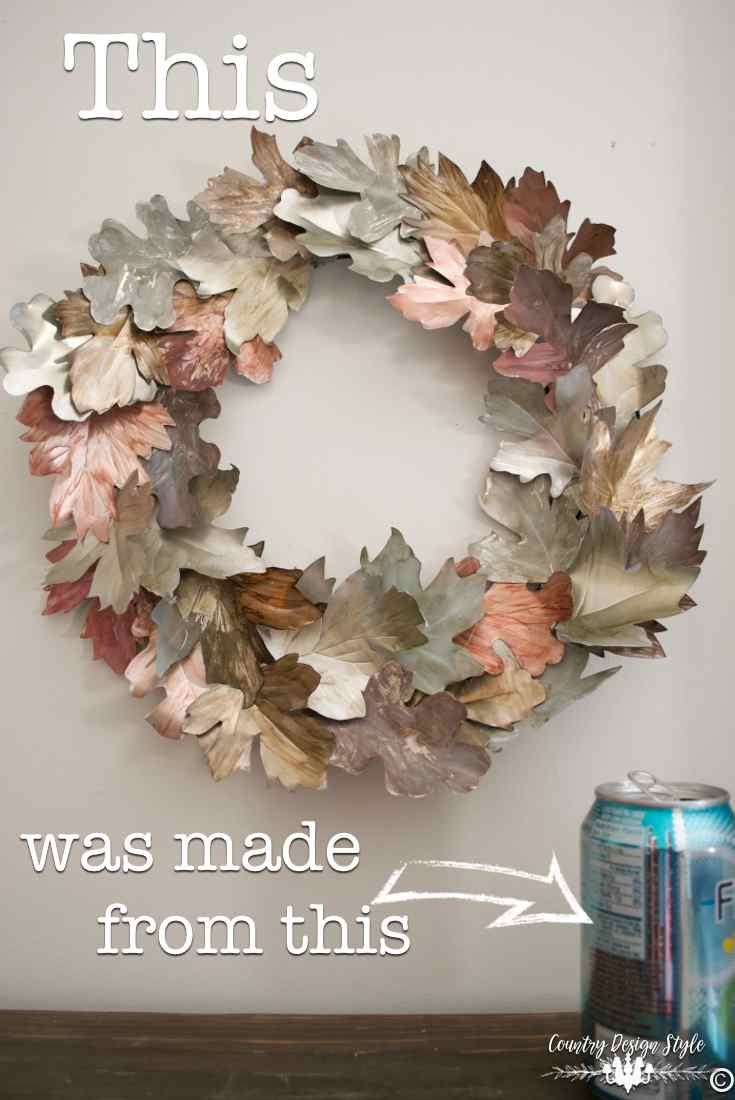 tin can made into leaves for easy DIY wreath