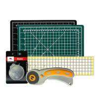 WA Portman Rotary Cutter Set   Rotary Fabric Cutter with 5 Extra Cutter Blades, 9x12-inch Self Healing Cutting Mat and 6x24-Inch Quilting Ruler in a Sewing Quilting Craft Supplies Set