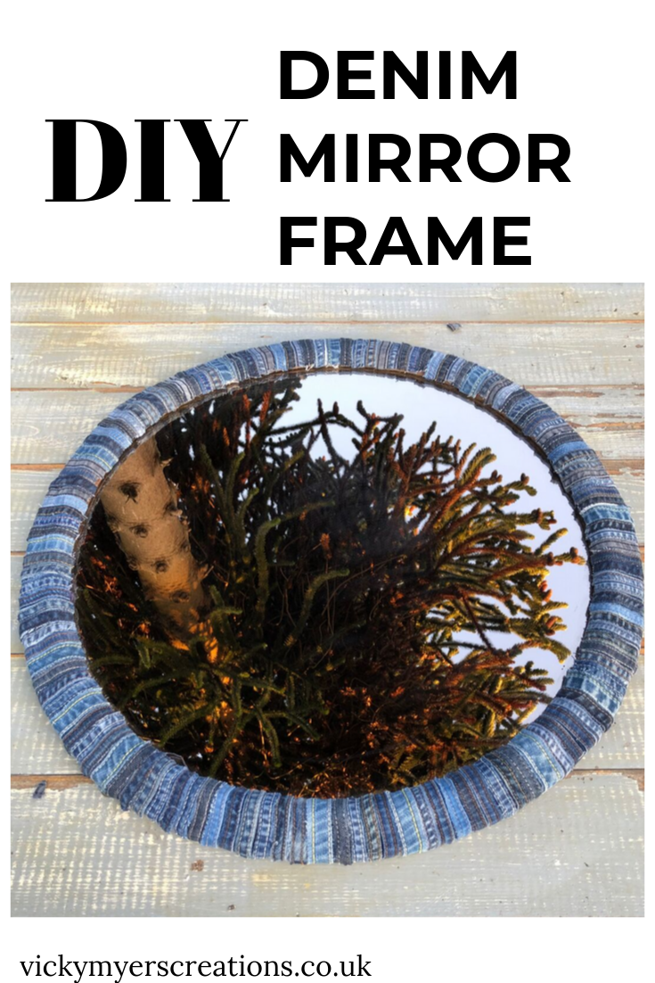 DIY Denim Mirror Frame, a fabulous no sew project for old jeans