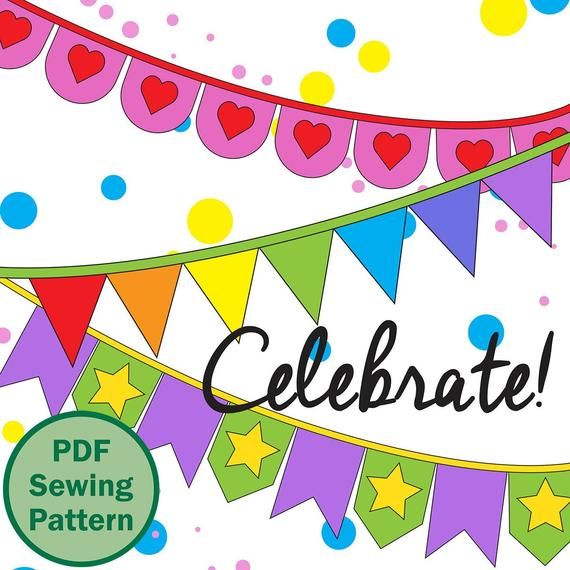 Celebrate! BANNER Bunting PDF Sewing Pattern - 5 shapes, 4 sizes with applique letters, numbers, symbols, shapes - party (English & Italian)