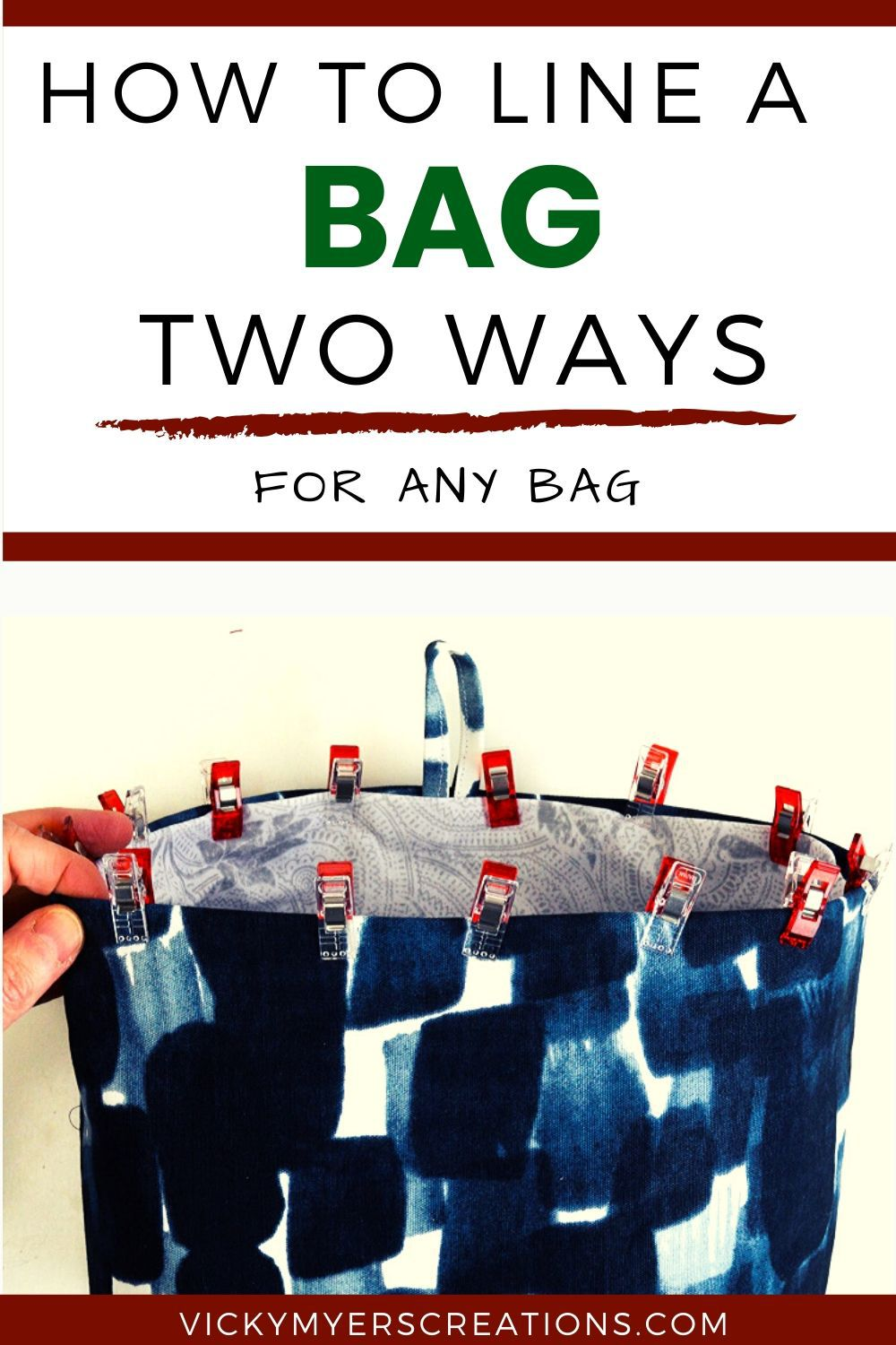 How to line a bag: two easy ways of lining a bag for the simplest to the most complicated bags and purses.